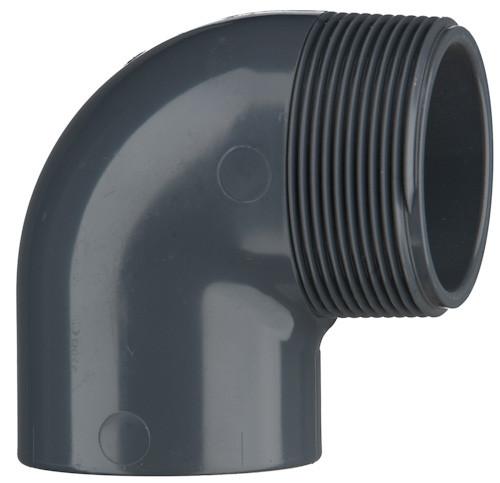 "PVC elbow 90°, 16 bar 25 mm, 1"" ET, 1 x adhesive sleeve, 1 x ext. thread"