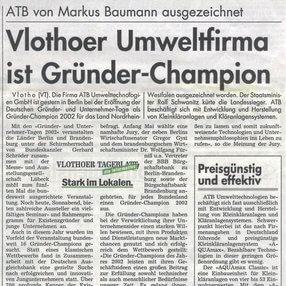 """Auszeichnung """"Gründer Champion"""" im Jahr 2002"""