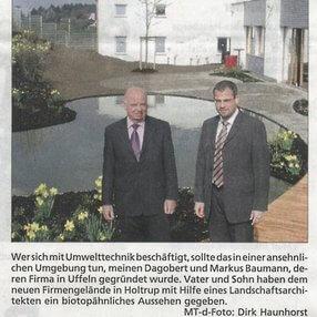 Zeitungsartikel über neues Firmengebäude in Porta Westfalica